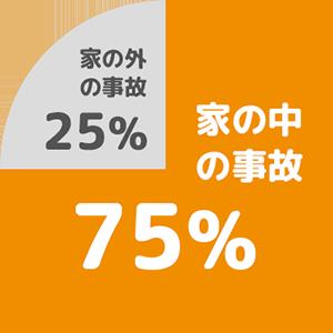 家の中の事故75%